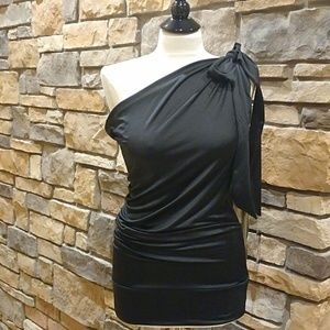 NEW Sexy One Shoulder Black Tunic Mini Dress